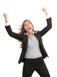 Winner Businesswoman With Success