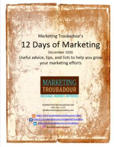 Marketing Troubadour 12 days of marketing cover